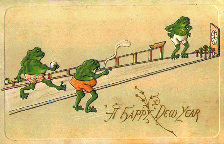 Old-card-FrogBowlingNewYear