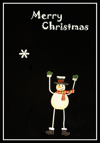 Snow man Merry Christmas card