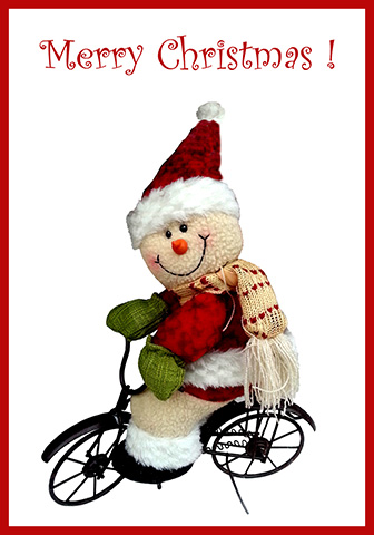 Santa on bike greeting card