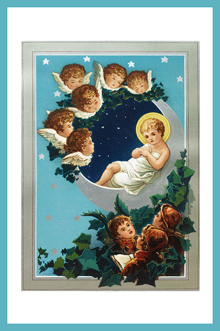 Old Christmas card Jesus angels