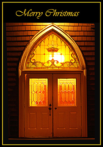 Church door at Christmas