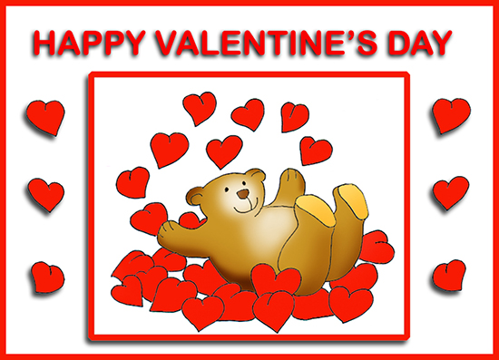 Valentine bear and Valentine hearts