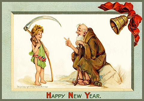 kid new year with scythe and old year