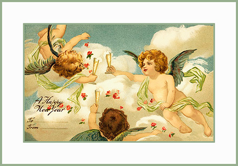 Angels celebrating New Year