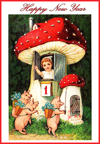 new year card with pigs and toadstool