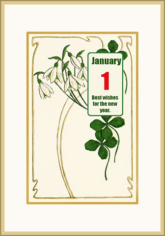 vintage New Year card with snowdrops