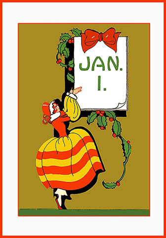 art nouveau new years card