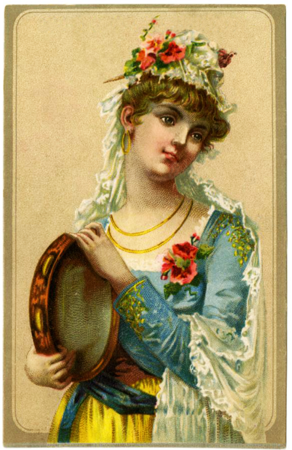 Printable Valentine cards woman with tambourine and text