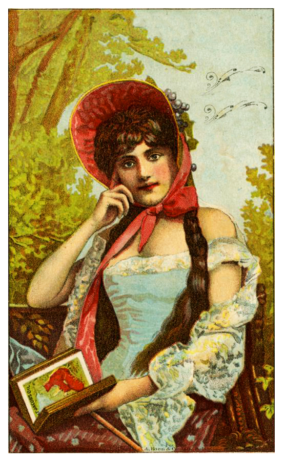 Valentines Day card with woman in forest