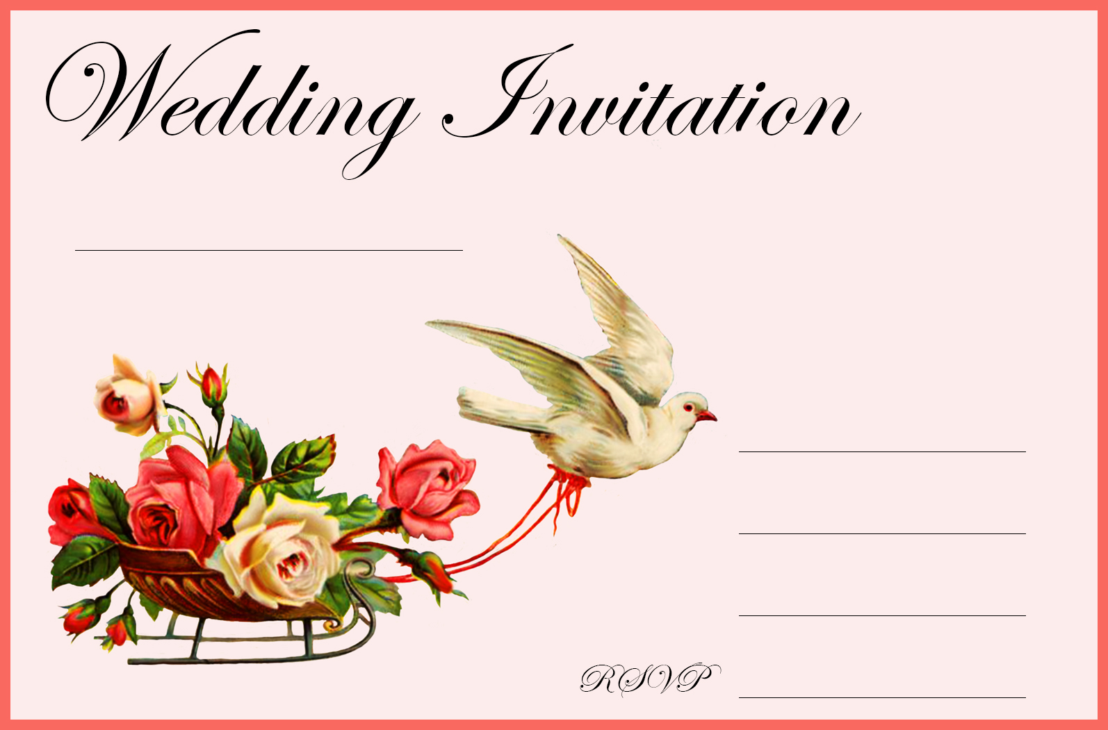 Wedding invitation with flowers and textlines