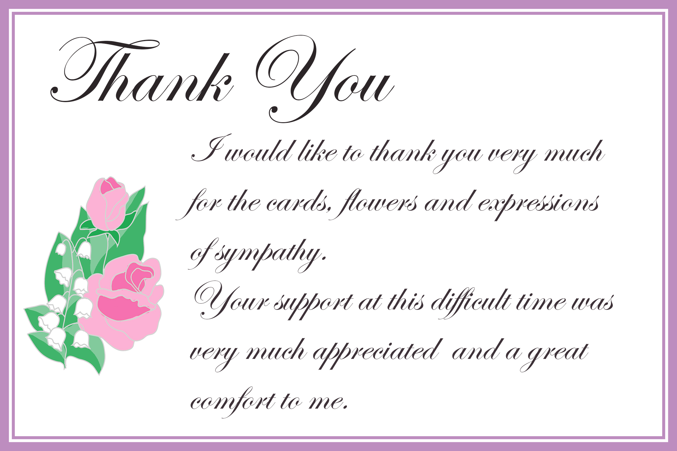 Printable Thank You Cards – Sympathy Thank You Notes