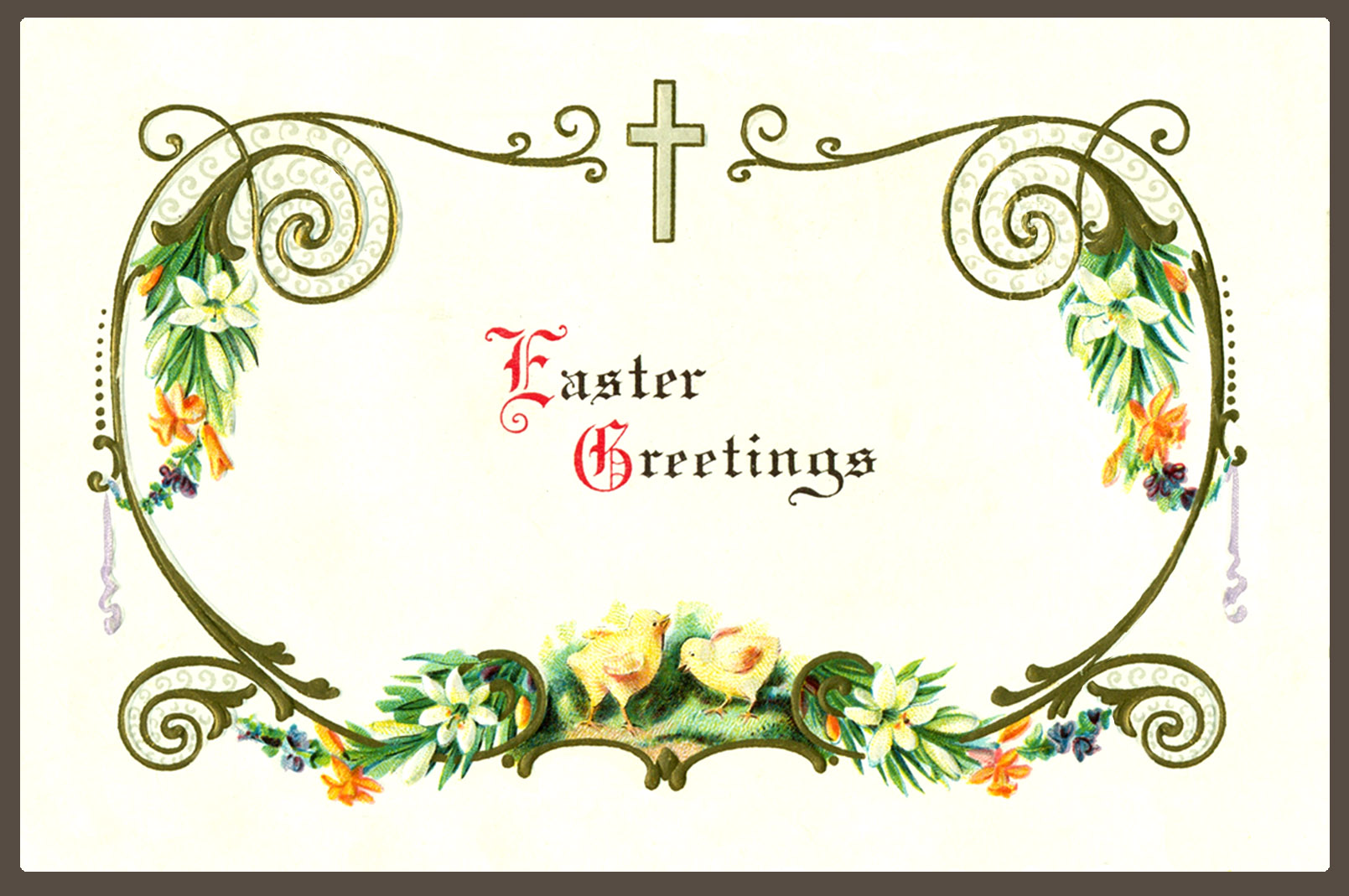 Easter greeting with cross and flowers and chickens-small