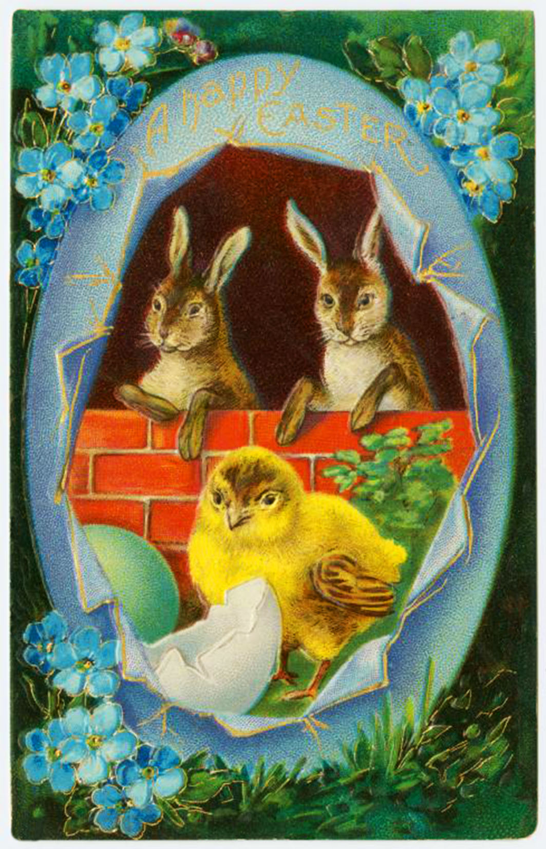Happy-easter-two-bunnies-chicken-egg