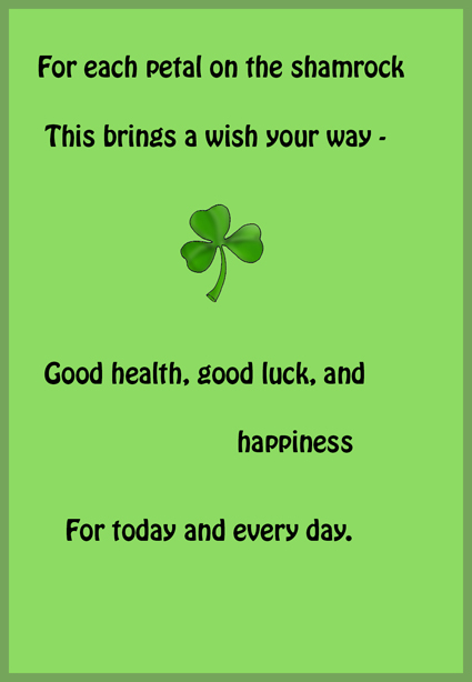 St. Patrick's day greeting card with saying