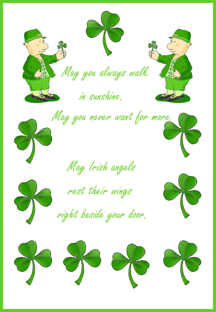 Irish card with St. Patrick's day lyrics