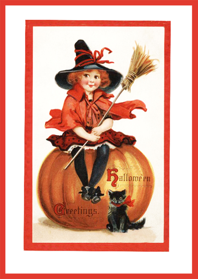 Halloween Greetings With Witch Pumpkin And Cat