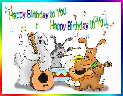 By Free Printable Greeting Cards Wp Content Uploads 2013 07 Dog Playing Happy Birthday Song