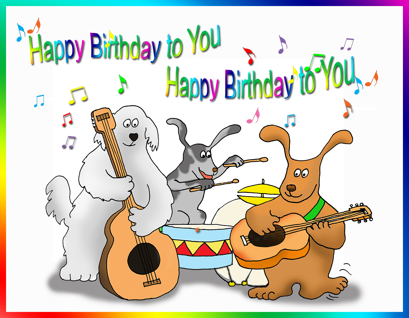 Happy Birthday Card With Dogs