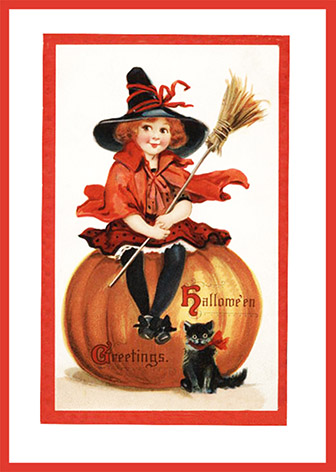 Halloween Greetings with Witch, Pumpkin, and Cat