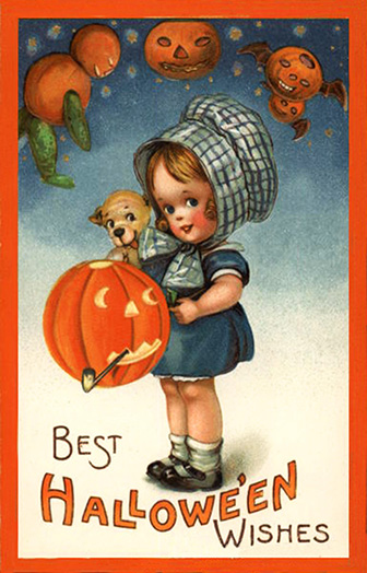 Halloween card little girl puppy