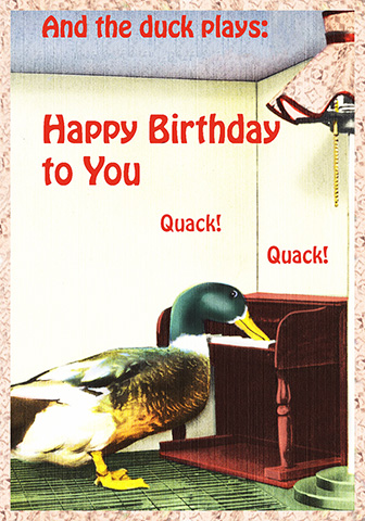 duck playing the birthday song