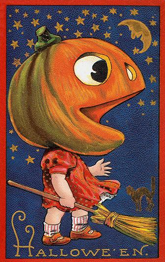 Halloween postcard girl pumpkin head