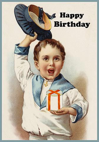 Happy birthday boy with gift