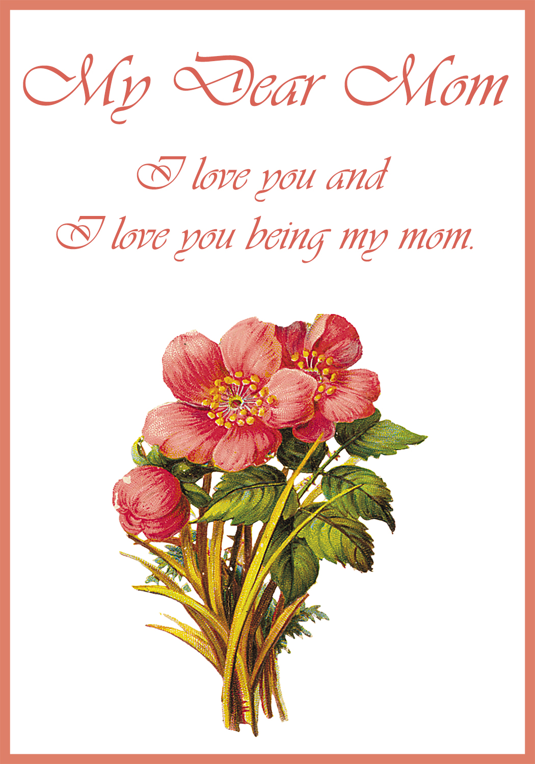 Mother's Day Card - Flowers - Printable in LDS Mothers Day ... |Printable Mothers Day Flowers