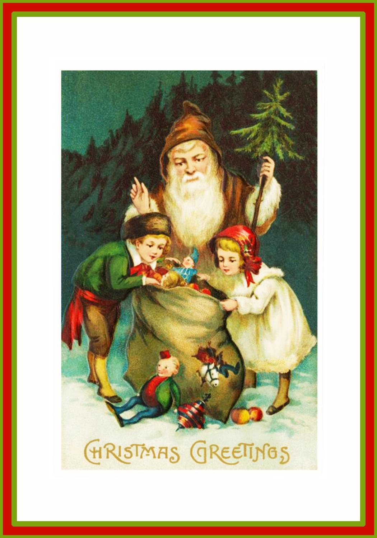 xmas postcard with Santa