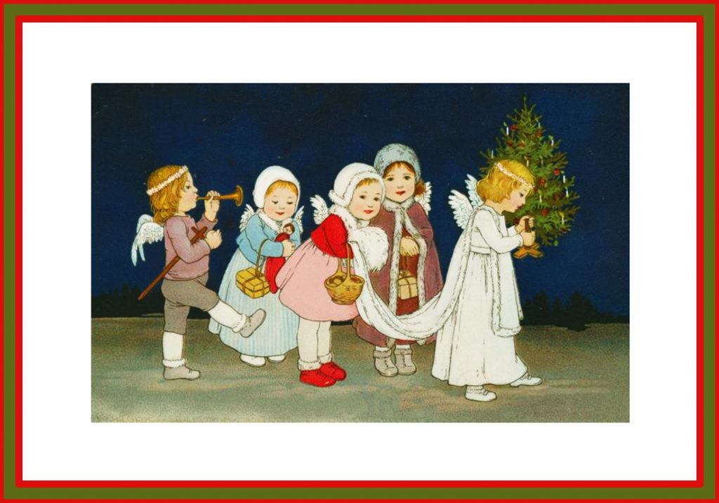 angel Christmas cards to print