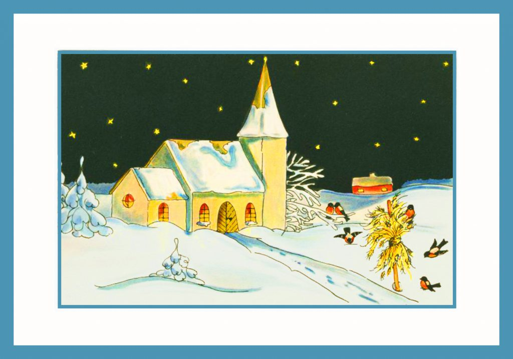 Vintage christmas cards scene
