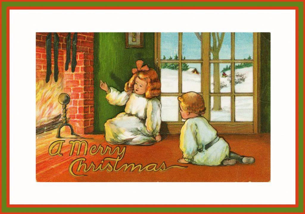 Christmas fireplace children