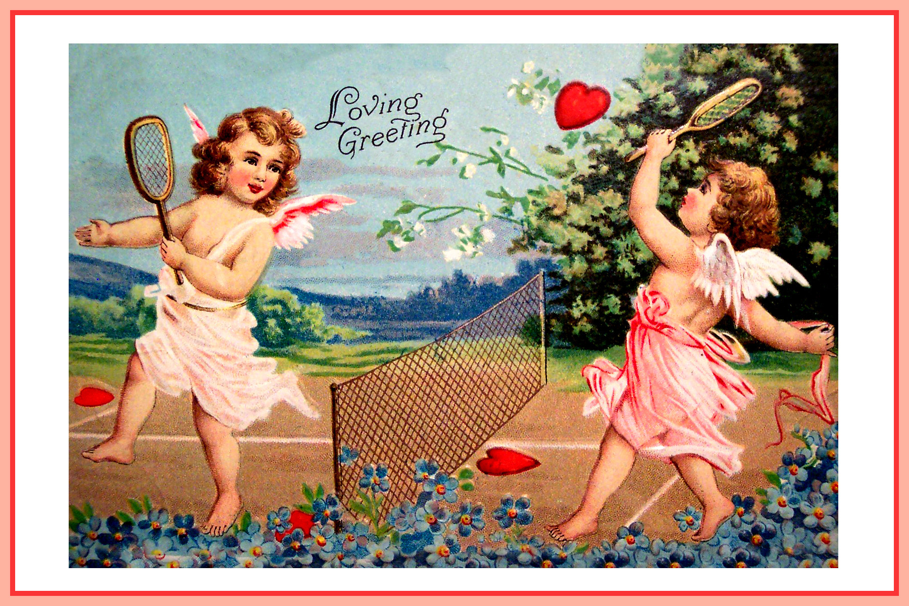 Old charming valentine greeting card for you free printable valentine cupid card tennis kristyandbryce Image collections