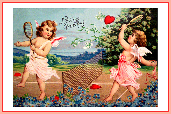 Valentine cupid card tennis