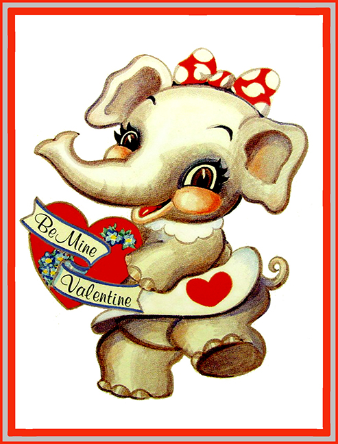 kids Valentine card with elephant