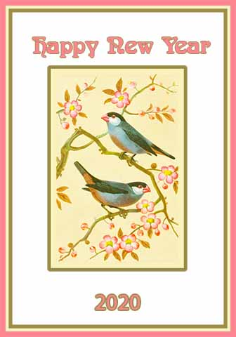 charming New Year card with bullfinches