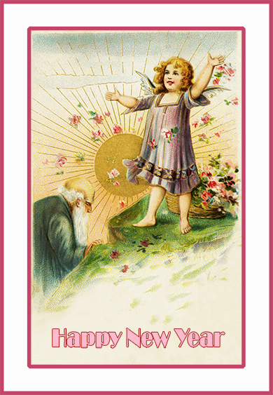 Old Year and New Year card